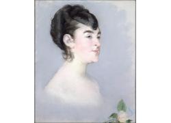 美丽的女人与花朵油画