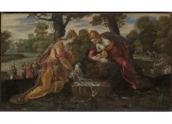 树下的女人和婴儿油画
