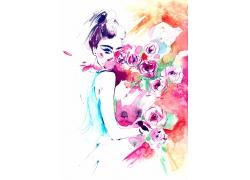 女人和花朵墨迹绘画