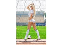 球门和性感美女足球