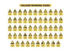 黄色三角形警告牌模版