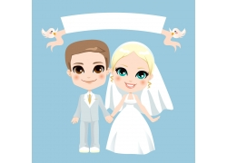 白色婚纱新人