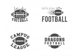 美式足球黑白标志