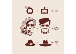 恋爱中的男人和女人设计素材