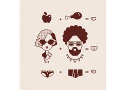 带胡须的情侣设计