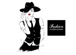 水彩笔触与时尚美女插画图片