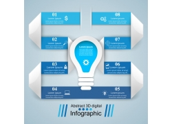 蓝色标签灯炮信息图表