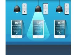 蓝色手机灯炮信息图表