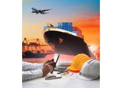 轮船集装箱商务人物图片