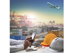 飞机轮船物流商务人物图片