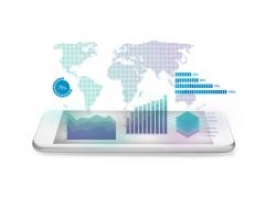 手机上的世界地图和信息图表