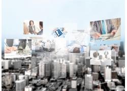 各种商务活动和城市背景