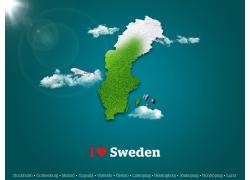 绿色瑞典地图