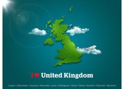 英国绿色地图