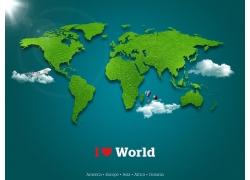 绿色世界地图