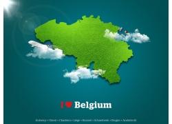 绿色比利时地图