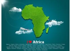 绿色非洲地图