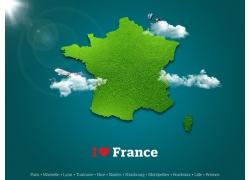 法国绿色地图
