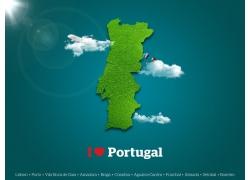 绿色葡萄牙地图