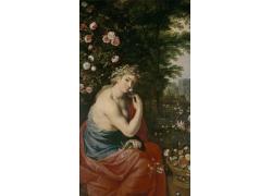 鲜花和美女油画