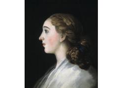 欧洲美女侧面油画