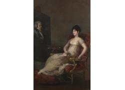 椅子上的美女肖像油画