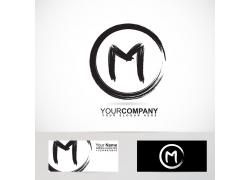 字母m墨迹logo