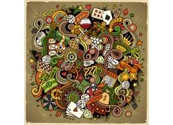 彩色赌博游戏背景设计素材