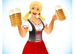 端着啤酒的卡通美女图片