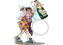 醉酒卡通人物形象创意设计图片
