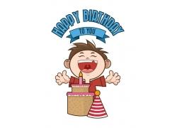 卡通男孩与生日蛋糕
