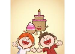 卡通儿童与卡通蛋糕