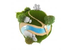 树林小人草地生态地球