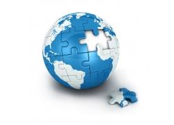 蓝色拼图地球