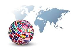 世界地图和国旗地球