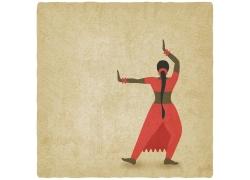红衣跳舞女人背影