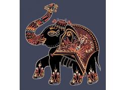 彩色花纹的大象