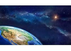 地球蓝色云形星光