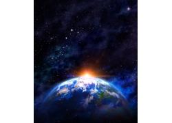 天空升起的星球和光线