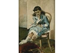 凳子上的女孩油画图片