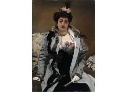 坐着的美女油画