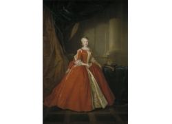 红色长裙的美女油画