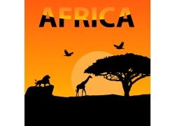 非洲动物剪影背景图片