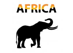 大象剪影背景