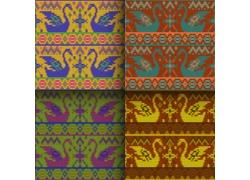天鹅织物花纹背景