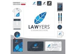 蓝色树叶logo公司形象设计