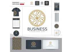 金色花纹logo公司形象设计