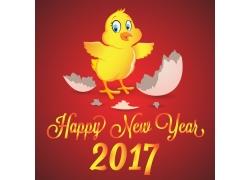红色背景下的鸡与黄色字母