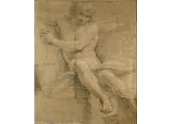 赤裸的人物素描