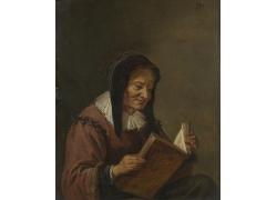 看书的女人油画图片